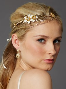 Mariell Gold Hand-enameled Floral Headband Flower Crown with Preciosa Crystal Drapes 4446hb-i-g Hair Accessory