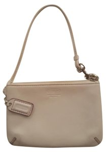 Coach Signature Leather Wristlet in Off-White