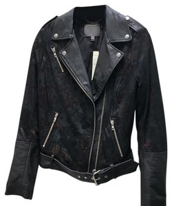 Muubaa Leather Print Black and Floral Leather Jacket