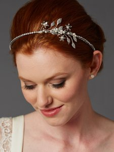 Mariell Silver Hand-enameled Floral Headband Flower Crown with Preciosa Crystal Drapes 4446hb-i-s Hair Accessory