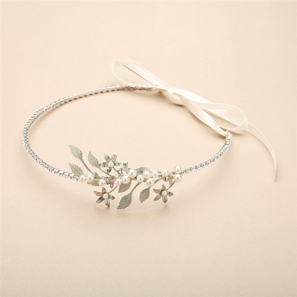 Mariell silver hand enameled floral headband flower crown with 12 izmirmasajfo