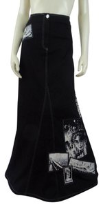 Isabel de Pedro Boho Flare Jean Unique Maxi Skirt Black