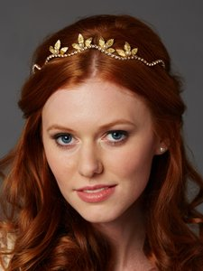 Mariell Gold Hand-made Wavy Tiara Crown with Leaves and Pearls 4448hb-i-g Hair Accessory