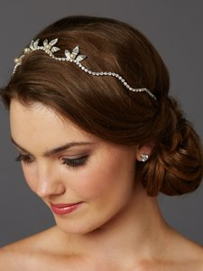 Mariell Silver Hand-made Wavy Tiara Crown with Leaves and Pearls 4448hb-i-g Hair Accessory