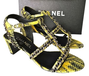 Chanel Python Snakeskin YELLOW WITH BLACK Sandals