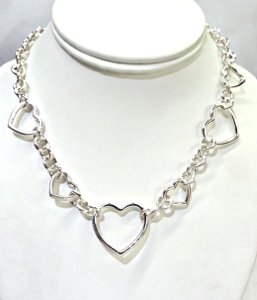 Tiffany & Co. Gorgeous Rare Tiffany & Co. Sterling Silver Multi Heart Link Necklace 15