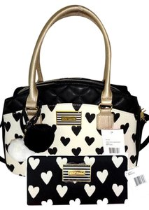 Betsey Johnson Triple Compartment Satchel in cream/black