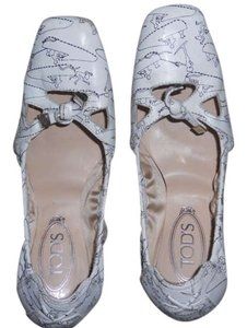TOD'S Tods Ballet Flat White with Blue Flats
