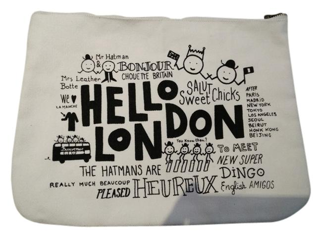 Item - Cosmetic Pencil London White Canvas Clutch