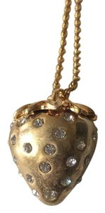 Kenneth Jay Lane Gold Crystal Strawberry Pendant