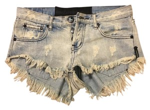 One Teaspoon Jean Cut Off Shorts Blue