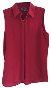 Vince Silk Sleeveless Buttons Top Red Burgundy