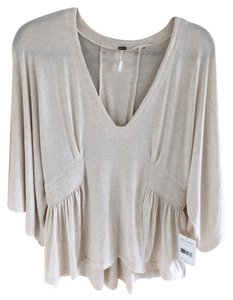 Free People Cotton Dolman Sleeves Comfortable Top Beige