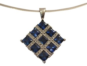 Other 4.5 CTw Ceylon Blue PC Sapphire 0.24 CTw Pave Diamond Pendant