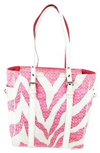 Coach Zebra Canvas Leather Patent Tote in Pink and White