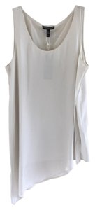 Eileen Fisher 100% Silk Layered Top Silver/Grey