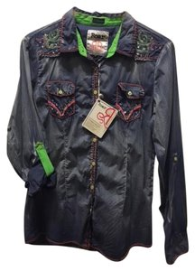 Roar Embroidery Western Button Down Shirt Blue
