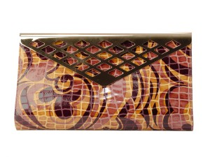 Timmy Woods Leather Collectible Beverly Hills Multicolor Clutch