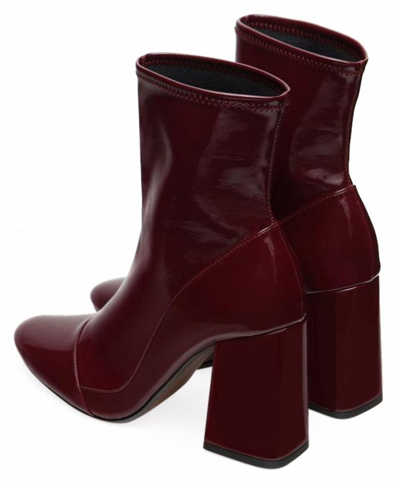 586cdeefe6c Zara Burgundy Sock Style Ankle Boots/Booties Size US 8.5 Regular (M ...