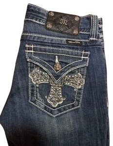 Miss Me Rhinestones Distressed Studded New Boot Cut Jeans-Medium Wash