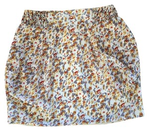 Urban Outfitters Mini Skirt Cream, gray, yellow, burnt orange