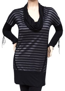 Salvage Sheer Lace Cowl Lace-up Tunic