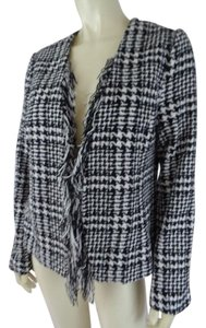 For Cynthia New Petite Houndstooth Fringe Lined Black & White Blazer