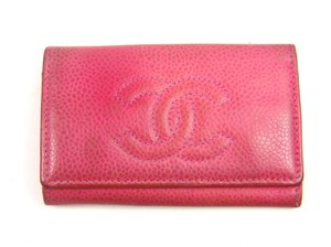 Chanel 6 Key Holder Case Wallet Caviar Skin Leather Italy