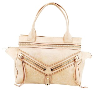 Botkier Trigger Pebbled Leather Studs Satchel in Beige