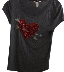 H&M T Shirt Gray, red
