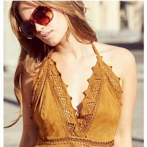 Free People Halter Cheek Suede Brown Halter Top