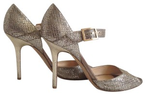 Jimmy Choo Mary-jane Glitter Pewter Pumps