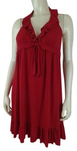 Kenneth Cole Reaction short dress Red New Halter Ruffles Pullover on Tradesy