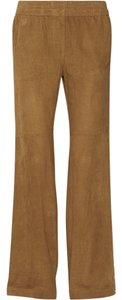 Isabel Marant Suede Leg Beige Straight Pants Tan