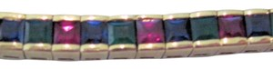 Other SALE!! 7.29 CTw SQ Emerald Ruby Sapphire Tennis Bracelet, 14 KT YG