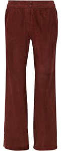 Isabel Marant Suede Perforated Leg Straight Pants Burgundy