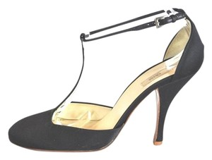 Prada T Starp Satin Black Pumps