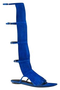 Gucci Becky Suede Knee High Blue Sandals