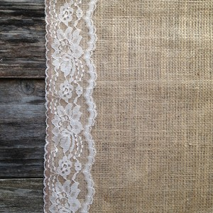 Burlap And White Lace Aisle Runner