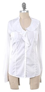 White House | Black Market Crisp Longsleeve Ruffle Collar Button Down Shirt White