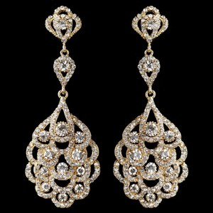 Elegance By Carbonneau Gold 1920's Vintage Inspired Wedding Earrings