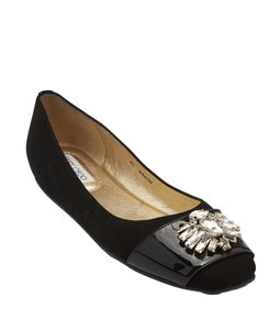 Jimmy Choo Suede Patent Leather Black Flats