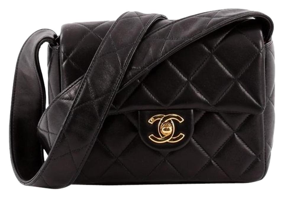 2f539087a4d5 Chanel Vintage Cc Square Quilted Small Balck Lambskin Shoulder Bag ...
