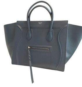 Céline Celine Leather Tote in Navy blue