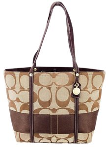 Coach Canvas Leather Shoulder Tote in Brown and Tan