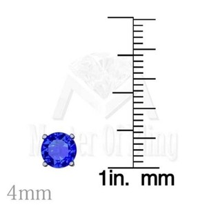 Other Blue Solitaire Studs Mens Ladies 925 Silver Tanzanite White Finish