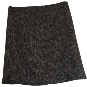 Ann Taylor LOFT Mini Skirt Brown and black houndstooth