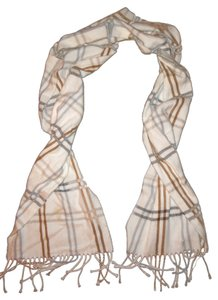 Cejon CEJON Ivory Brown Gray Light Blue Plaid Soft Scarf