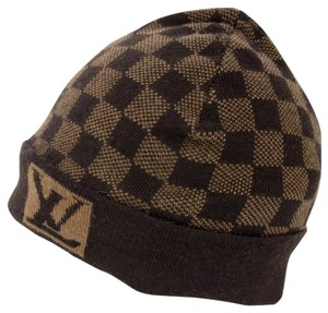 Louis Vuitton Louis Vuitton Signature Damier LV Monogram 100% Wool Beanie Skully