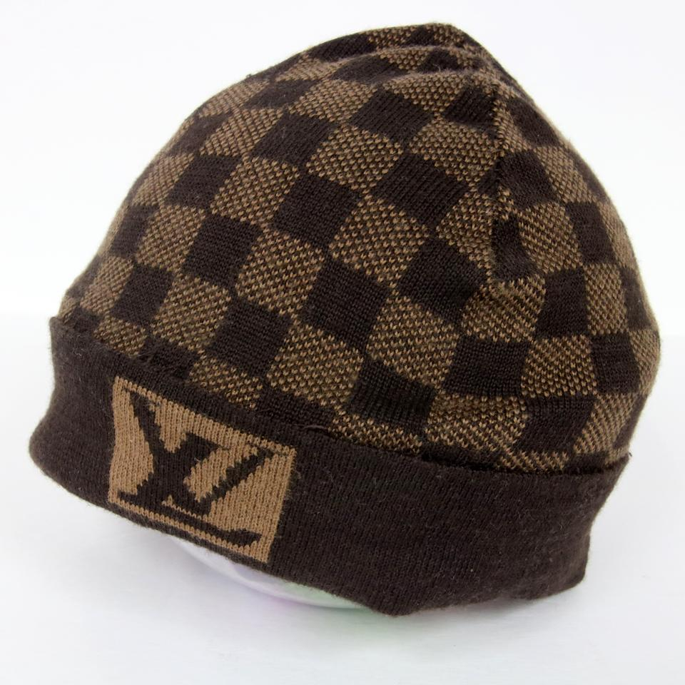 62db27a222bfe Louis Vuitton Brown Signature Damier Lv Monogram Wool Beanie Skully Hat